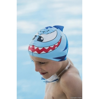fashy® - SHARK Kinder-Badehaube, Badekappe, Schwimmhaube (Made In Germany)  - Gelb/Rot