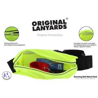 Original Lanyards® Catch Me If You Can Laufgürtel Running Belt Waist Pack in 2 Farben schwarz und neongelb - Neon/Gelb